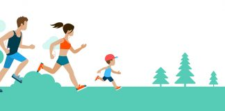 Happy running family